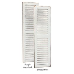 Primitive Pine 4 Foot Tall Pair of Decorative Louver Shutters - Antique White