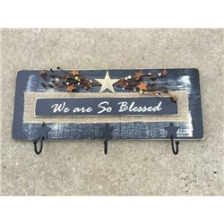 Primitive Pine Inspirational We Are so Blessed Wall Plaque with Hooks - Black