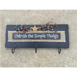 Primitive Pine Inspirational Cherish the Simple Things Wall Plaque with Hooks