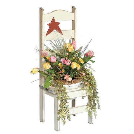 Primitive Pine Flower Pot Holder Chair