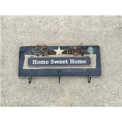 Primitive Pine Inspirational HOME SWEET HOME Wall Plaque with Hooks