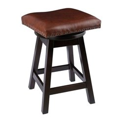 "Onyx Stain with Brown Leather Seat - 24"" High"
