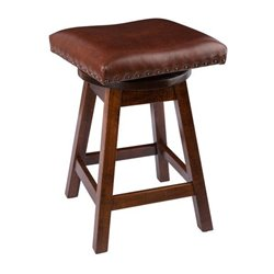 "Rich Tobacco Stain with Brown Leather Seat - 24"" High"
