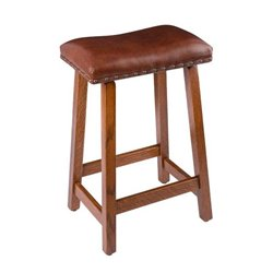 Rustic Bar Stool - Urban Stool in Quarter Sawn Oak with Leather Seat