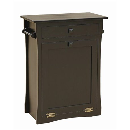 Brown Maple Tilt Out Trash/Recycling Bin with Drawer