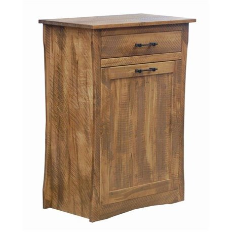 Large Rough Sawn Maple Tilt Out Trash/Recycling Bin with Storage Drawer