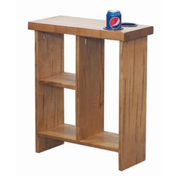 Slim Side Table - Wormy Maple wood with Storage Cubes and Cup Holders