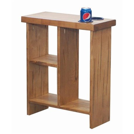 Slim Side Table Wormy Maple Wood With Storage Cubes And Cup Holders