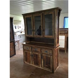 Barn Wood Cabinet & Hutch - Reclaimed 3 Door Cabinet with 3 Door Hutch