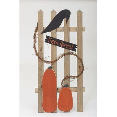 Primitive Rustic Wooden Autumn Picket Fence with Pumpkins