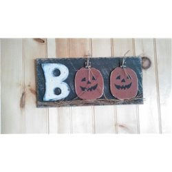 Halloween BOO Sign - Primitive Rustic Pumpkin Sign