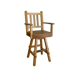 Rustic Reclaimed Barn Wood Swivel Plank Seat Bar Stool with Back and Arms