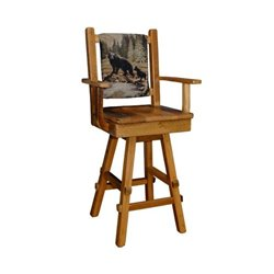 Barn Wood Set of 2 Swivel Stool with Upholstered Back, Scoop Seat, and Arms - Counter or Bar Height