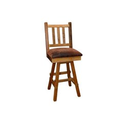 Barn Wood Set of 2 Swivel Stool with Upholstered Back & Scoop Seat - Counter or Bar Height