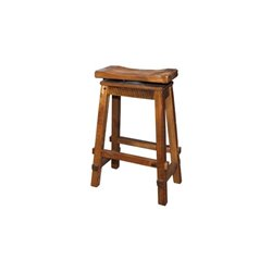 Rustic Reclaimed Barn Wood Swivel Saddle Stool - Natural Clear Varnish - 30""