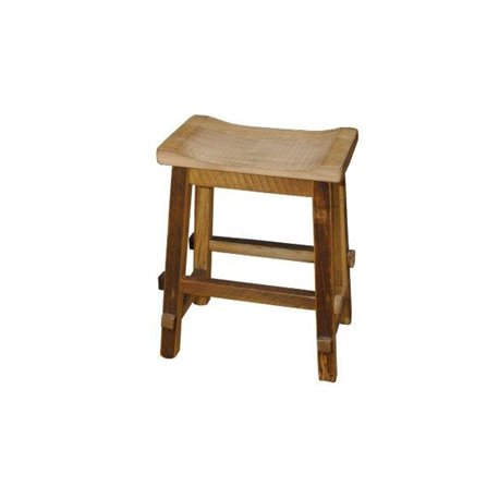 Rustic Reclaimed Barn Wood Swivel Saddle Stool with Wide Seat - Counter or Bar Height