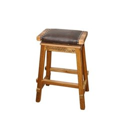 Rustic Reclaimed Barn Wood Swivel Saddle Stool with Wide Padded Seat - Counter or Bar Height