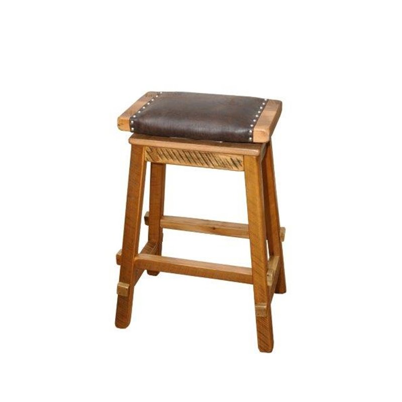 Reclaimed Barn Wood Saddle Stool With Wide Faux Leather Seat