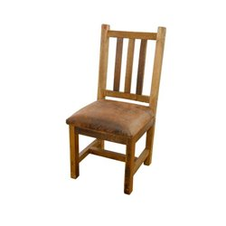 Set of 2 Rustic Reclaimed Barn Wood Dining Side Chairs with Upholstered Seat
