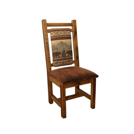 Bear Mountain on the Back with Faux Brown Leather Seat in Natural Clear Varnish