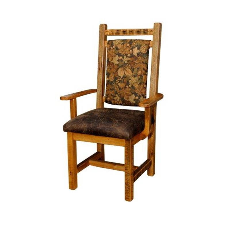 Set Of 2 Rustic Barn Wood Dining Chairs With Padded Back