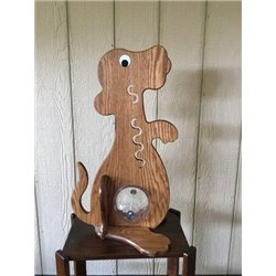 Puppy Piggy Bank - Solid Oak Doggie Bank with Big Belly