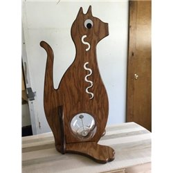 Kitty Piggy Bank - Solid Oak Cat Bank with Big Belly