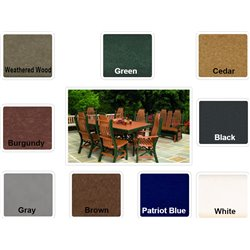 "Poly Lumber Patio Set with 72"" Rectangle Table & 4 Chairs - 18 Standard Colors"