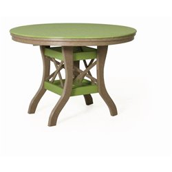 Table shown in Lime Green & Weather Wood