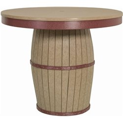 Barrel Table - Outdoor Poly Lumber Round Top in Counter Height
