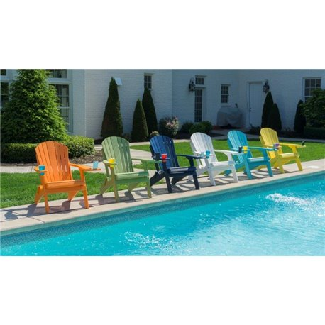 Poly Lumber Folding Deluxe Premium Adirondack Chair w/ 1 Cup Holder &  Rotating Phone / Tablet Holder