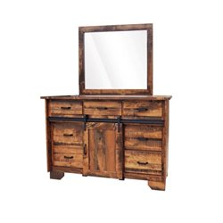 Deluxe Barn Door Dresser with Matching Mirror in Rough Sawn Maple