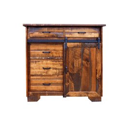 Deluxe Sliding Barn Door Dresser/Chest in Rough Sawn Maple