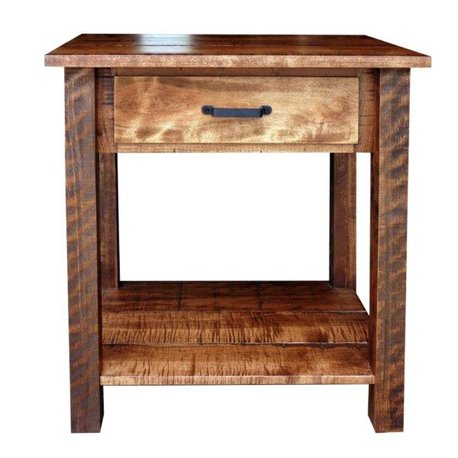1 Drawer Open Front Nightstand/Side Table in  Rough Sawn Maple
