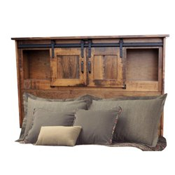 Sliding Barn Door Bookcase Bed with Under Drawer Unit in Rough Sawn Maple - Full, Queen, or King