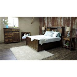 Sliding Barn Door Bookcase Bed with Under Drawer Unit, Dresser, Mirror, & Side Tables Set