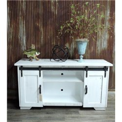 Deluxe Sliding Barn Door TV Stand Painted White w/ Gray Glaze