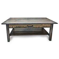 Deluxe Coffee Table with Drawer in Antique Slate Stain