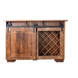 Deluxe Wine Server Island / Bar with Sliding Barn Door