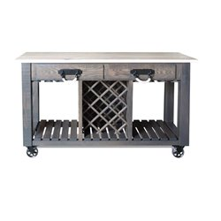 Deluxe Kitchen Island/Wine Cart with Casters - Front