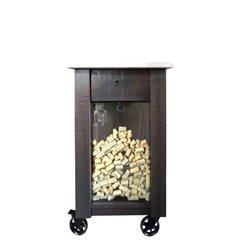 Deluxe Kitchen Island/Wine Cart with Casters - Optional Cork Storage