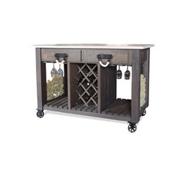 Deluxe Kitchen Island/Wine Cart with Casters - Side View w/optional Cork Storage