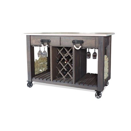 Deluxe Oak Kitchen Island Wine Cart With Casters