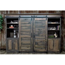 Large Deluxe Sliding Barn Door Entertainment Center in Antique Slate Stain
