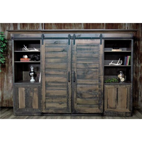 Large Deluxe Sliding Barn Door Entertainment Center In Antique