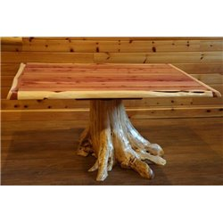 "Rustic Red Cedar Log Dining Stump Table - 42"" x 72"" - Dining Table Only"