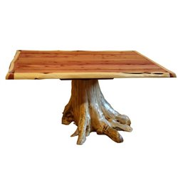 "Rustic Red Cedar Log Dining Stump Table - 42"" x 72"""