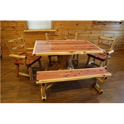 "Rustic Red Cedar Log Dining Stump Table - 42"" x 72"" with 4 Chairs & 1 Bench"
