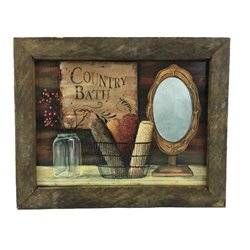 Country Bath Farmhouse Print with Rustic Tobacco Lath Board Frame
