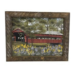 Pottersburg Covered Bridge Print with Rustic Tobacco Lath Board Frame